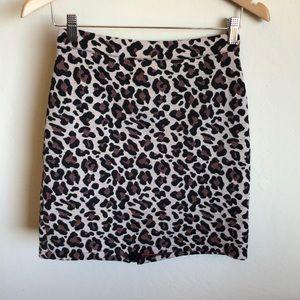Anthropologie leopard mini skirt